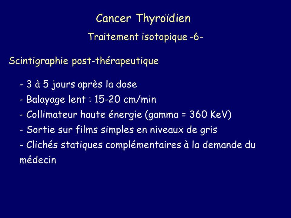Cancer Thyroïdien Traitement isotopique -6- Scintigraphie post-thérapeutique - 3 à 5 jours après la dose - Balayage lent : 15-20 cm/min - Collimateur