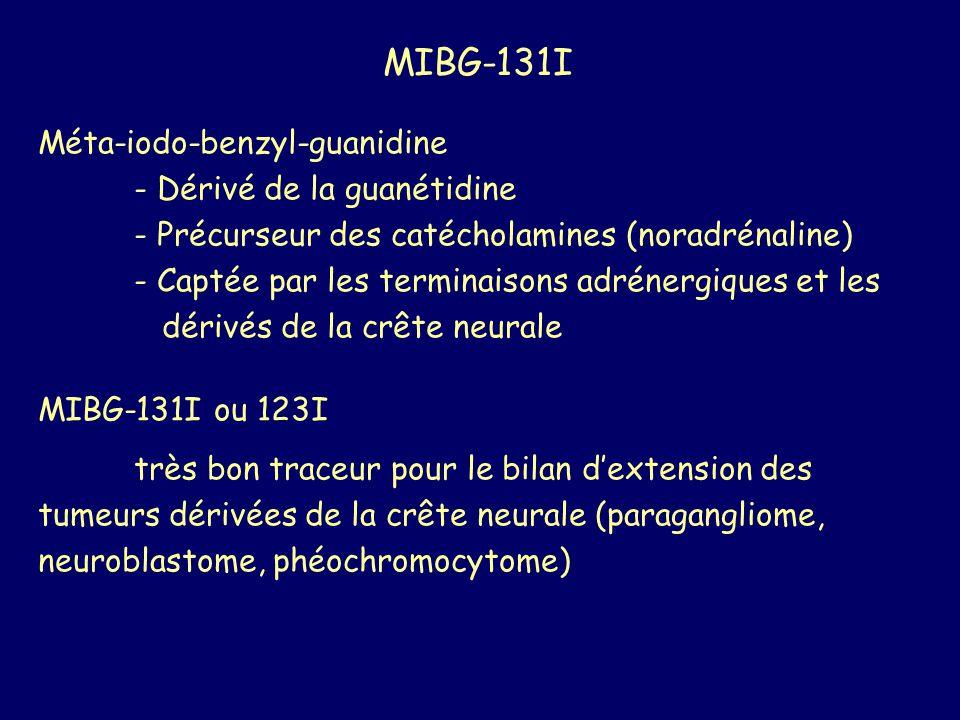 MIBG-131I Méta-iodo-benzyl-guanidine - Dérivé de la guanétidine - Précurseur des catécholamines (noradrénaline) - Captée par les terminaisons adrénerg