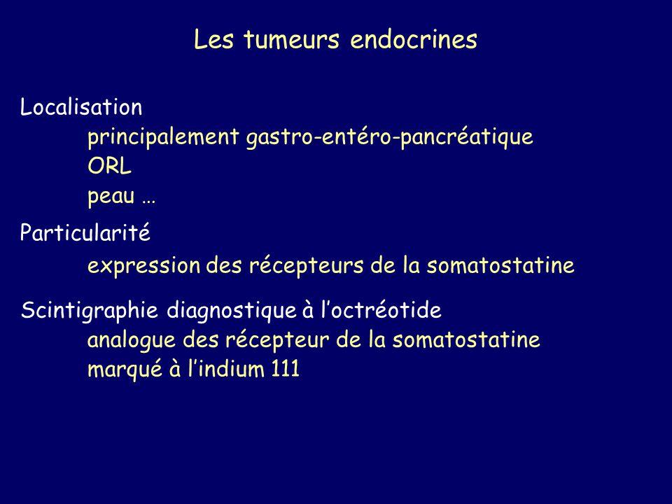 Les tumeurs endocrines Localisation principalement gastro-entéro-pancréatique ORL peau … Particularité expression des récepteurs de la somatostatine S