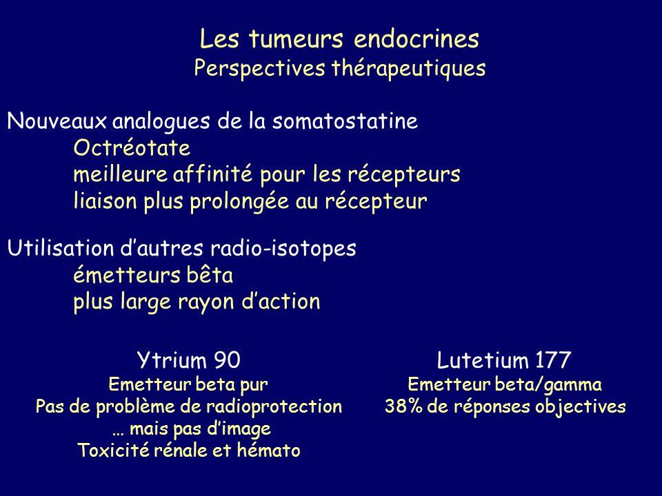 Les tumeurs endocrines Perspectives thérapeutiques Nouveaux analogues de la somatostatine Octréotate meilleure affinité pour les récepteurs liaison pl