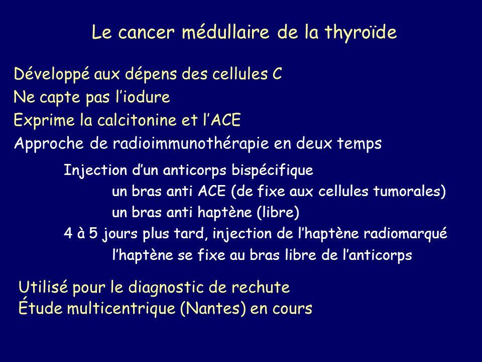 Le cancer médullaire de la thyroïde Développé aux dépens des cellules C Ne capte pas liodure Exprime la calcitonine et lACE Approche de radioimmunothé