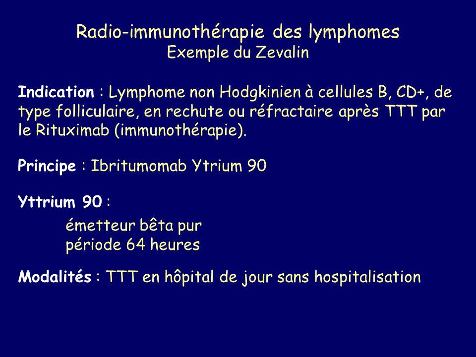 Radio-immunothérapie des lymphomes Exemple du Zevalin Indication : Lymphome non Hodgkinien à cellules B, CD+, de type folliculaire, en rechute ou réfr
