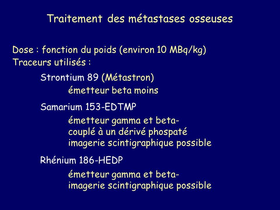 Traitement des métastases osseuses Dose : fonction du poids (environ 10 MBq/kg) Traceurs utilisés : Strontium 89 (Métastron) émetteur beta moins Samar