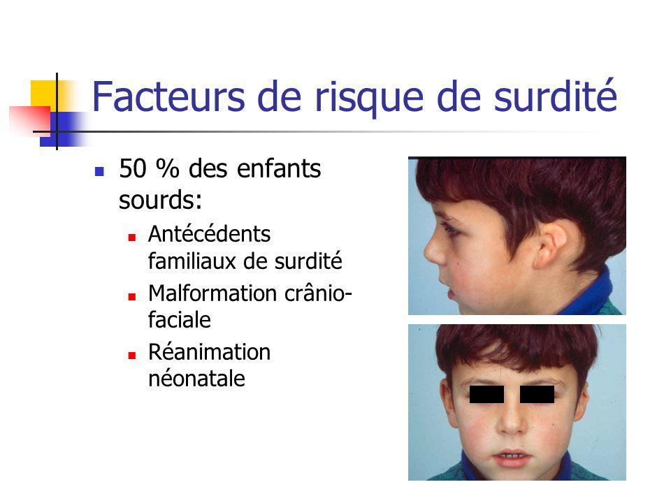 Facteurs de risque de surdité 50 % des enfants sourds: Antécédents familiaux de surdité Malformation crânio- faciale Réanimation néonatale