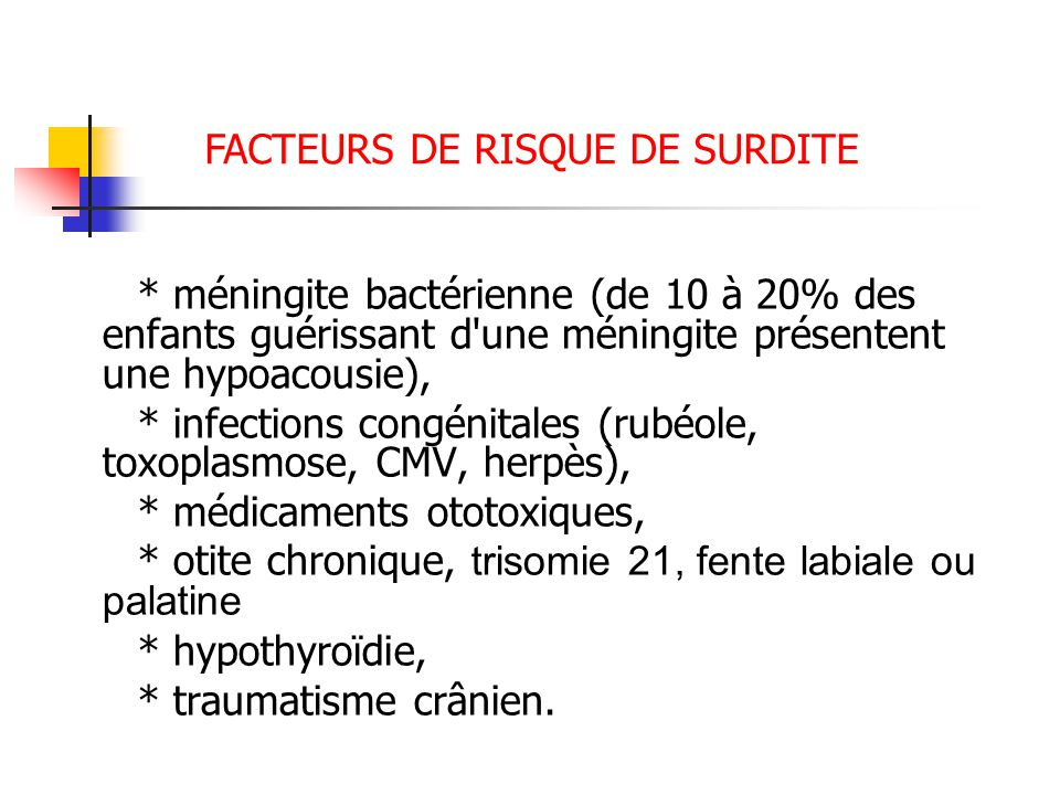 * méningite bactérienne (de 10 à 20% des enfants guérissant d une méningite présentent une hypoacousie), * infections congénitales (rubéole, toxoplasmose, CMV, herpès), * médicaments ototoxiques, * otite chronique, trisomie 21, fente labiale ou palatine * hypothyroïdie, * traumatisme crânien.