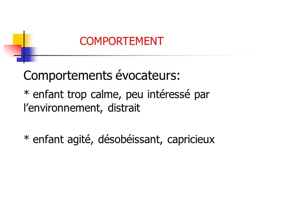 Comportements évocateurs: * enfant trop calme, peu intéressé par lenvironnement, distrait * enfant agité, désobéissant, capricieux COMPORTEMENT