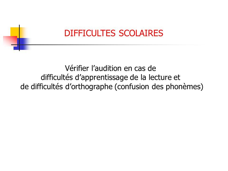 DIFFICULTES SCOLAIRES Vérifier laudition en cas de difficultés dapprentissage de la lecture et de difficultés dorthographe (confusion des phonèmes)