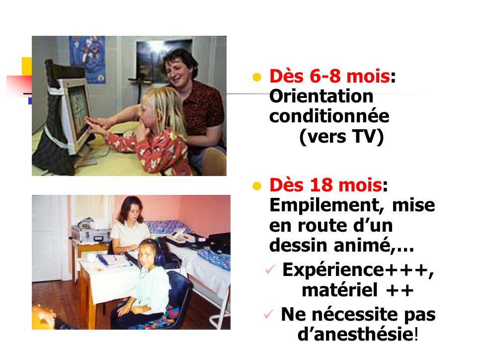 Dès 6-8 mois: Orientation conditionnée (vers TV) Dès 18 mois: Empilement, mise en route dun dessin animé,… Expérience+++, matériel ++ Ne nécessite pas danesthésie!