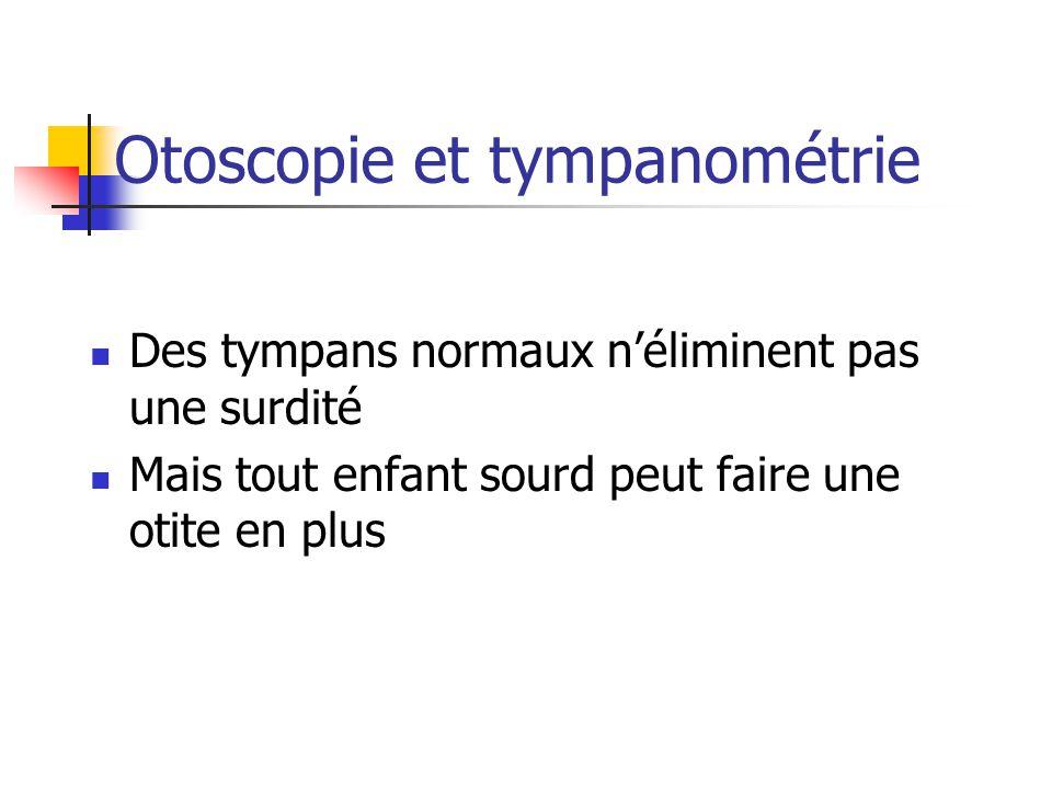 Otoscopie et tympanométrie Des tympans normaux néliminent pas une surdité Mais tout enfant sourd peut faire une otite en plus