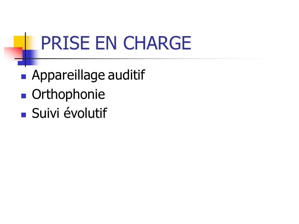 PRISE EN CHARGE Appareillage auditif Orthophonie Suivi évolutif