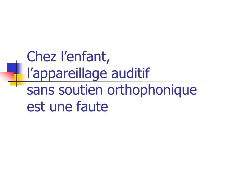 Chez lenfant, lappareillage auditif sans soutien orthophonique est une faute