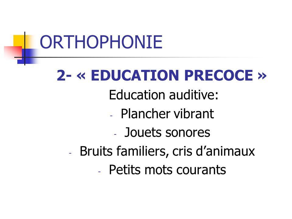 ORTHOPHONIE 2- « EDUCATION PRECOCE » Education auditive: - Plancher vibrant - Jouets sonores - Bruits familiers, cris danimaux - Petits mots courants