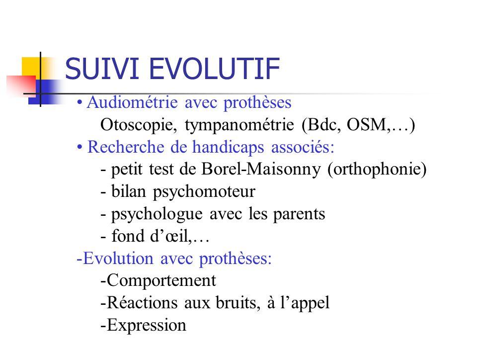 SUIVI EVOLUTIF Audiométrie avec prothèses Otoscopie, tympanométrie (Bdc, OSM,…) Recherche de handicaps associés: - petit test de Borel-Maisonny (orthophonie) - bilan psychomoteur - psychologue avec les parents - fond dœil,… -Evolution avec prothèses: -Comportement -Réactions aux bruits, à lappel -Expression
