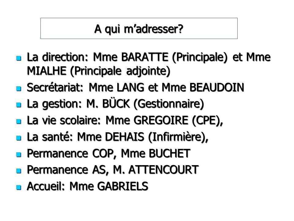 A qui madresser? La direction: Mme BARATTE (Principale) et Mme MIALHE (Principale adjointe) La direction: Mme BARATTE (Principale) et Mme MIALHE (Prin