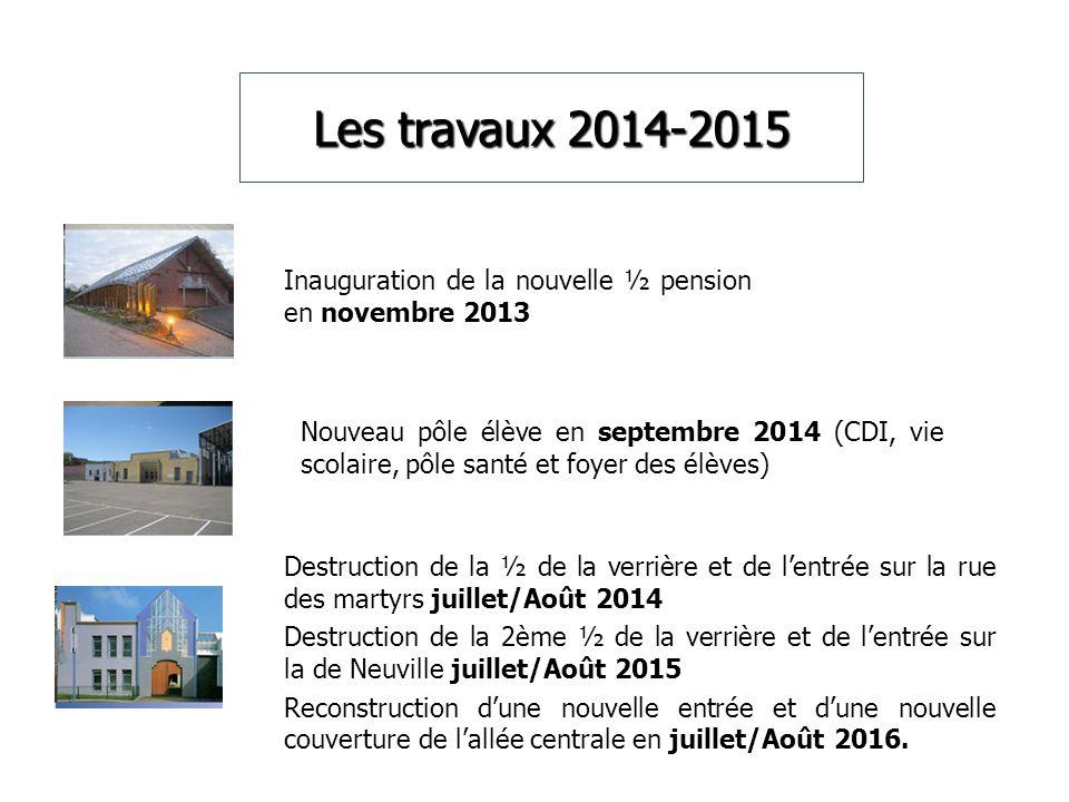 Les travaux 2014-2015 Inauguration de la nouvelle ½ pension en novembre 2013 Nouveau pôle élève en septembre 2014 (CDI, vie scolaire, pôle santé et fo