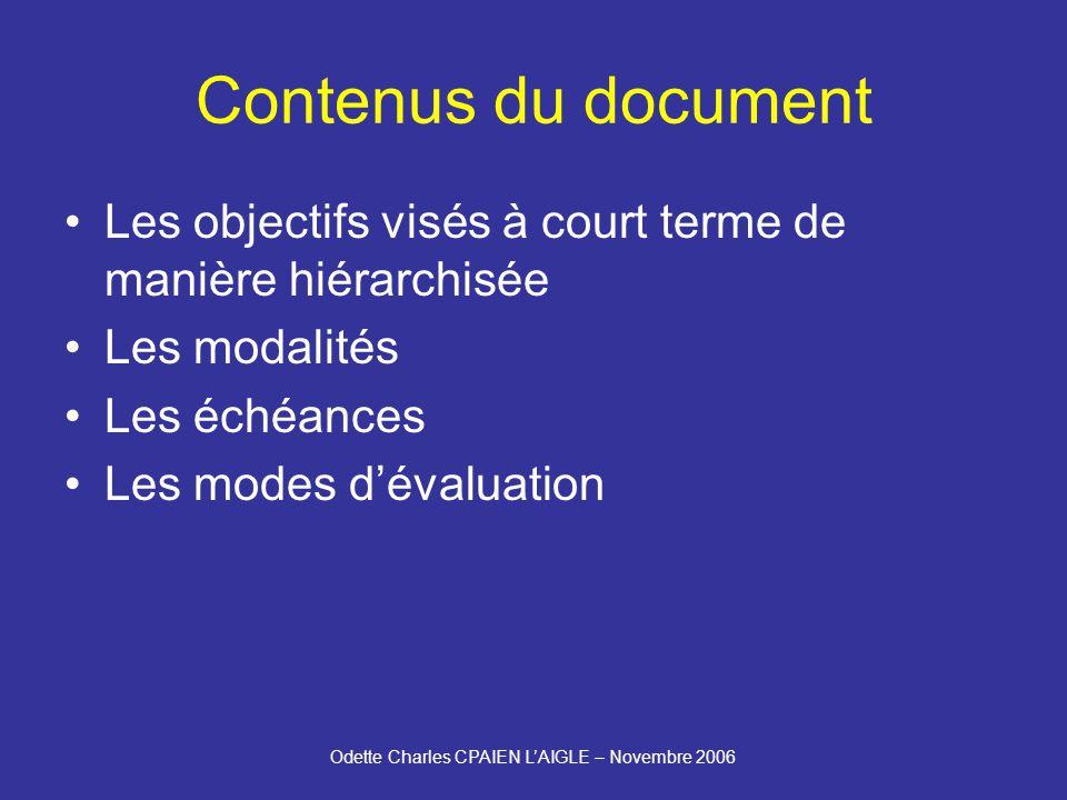 Odette Charles CPAIEN LAIGLE – Novembre 2006 Contenus du document Les objectifs visés à court terme de manière hiérarchisée Les modalités Les échéances Les modes dévaluation