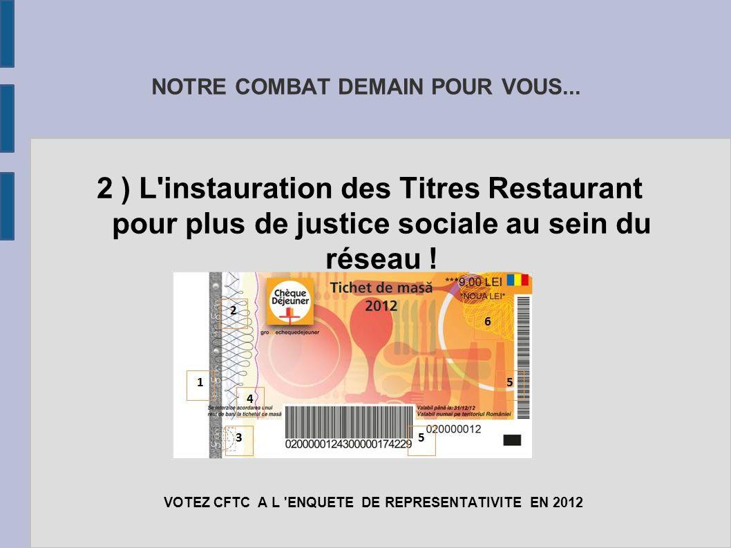 NOTRE COMBAT DEMAIN POUR VOUS... 2 ) L'instauration des Titres Restaurant pour plus de justice sociale au sein du réseau ! VOTEZ CFTC A L 'ENQUETE DE