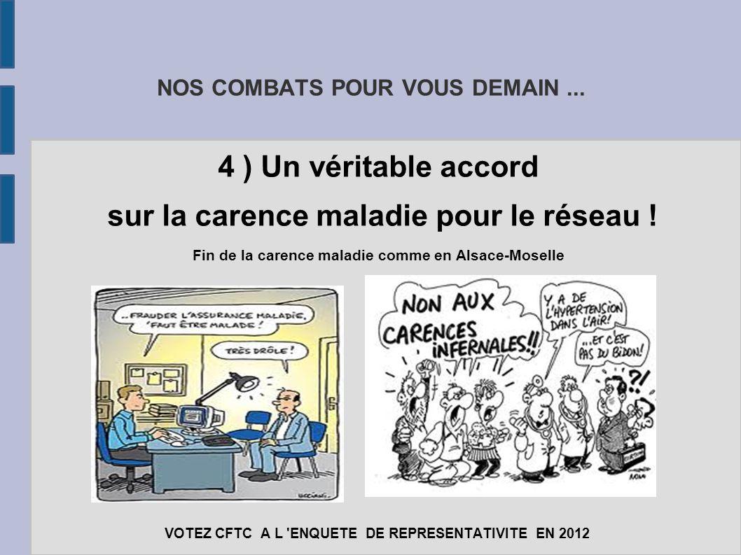 NOS COMBATS POUR VOUS DEMAIN... 4 ) Un véritable accord sur la carence maladie pour le réseau ! Fin de la carence maladie comme en Alsace-Moselle VOTE