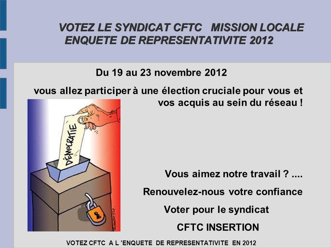 VOTEZ LE SYNDICAT CFTC MISSION LOCALE ENQUETE DE REPRESENTATIVITE 2012 VOTEZ LE SYNDICAT CFTC MISSION LOCALE ENQUETE DE REPRESENTATIVITE 2012 Du 19 au