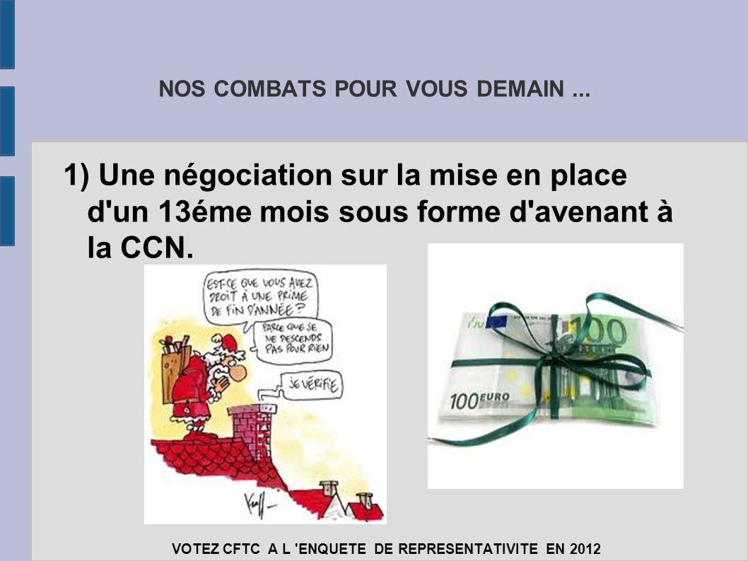 NOS COMBATS POUR VOUS DEMAIN... 1) Une négociation sur la mise en place d'un 13éme mois sous forme d'avenant à la CCN. VOTEZ CFTC A L 'ENQUETE DE REPR
