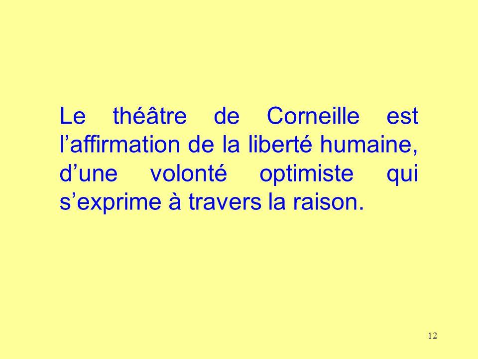 12 Le théâtre de Corneille est laffirmation de la liberté humaine, dune volonté optimiste qui sexprime à travers la raison.