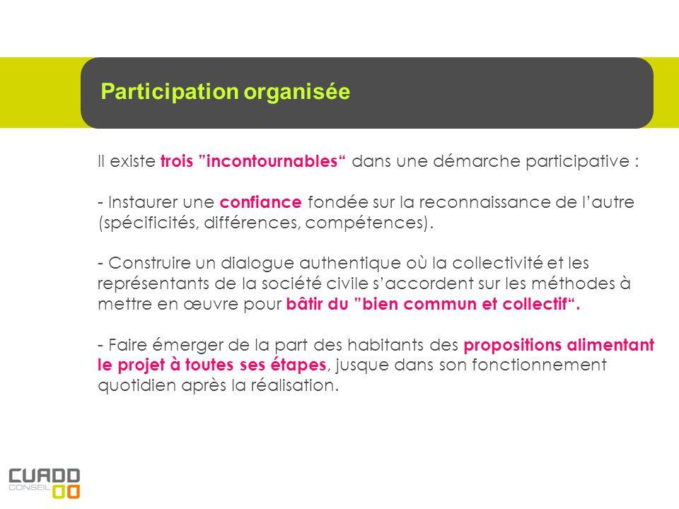 Il existe trois incontournables dans une démarche participative : - Instaurer une confiance fondée sur la reconnaissance de lautre (spécificités, diff