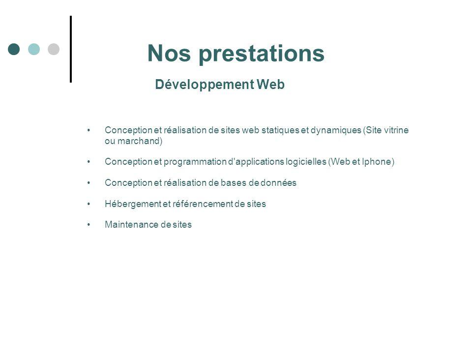 Nos prestations Conception et réalisation de sites web statiques et dynamiques (Site vitrine ou marchand) Conception et programmation d'applications l