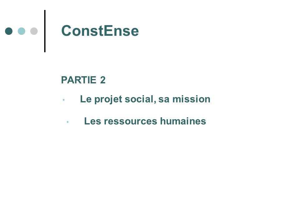 PARTIE 2 Le projet social, sa mission Les ressources humaines ConstEnse