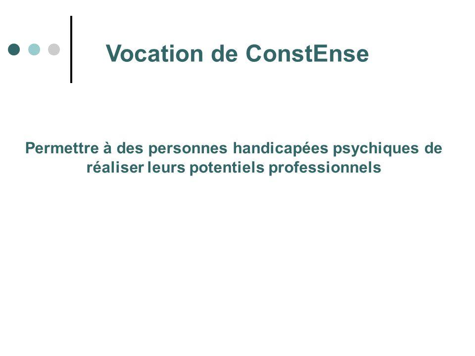 Vocation de ConstEnse Permettre à des personnes handicapées psychiques de réaliser leurs potentiels professionnels