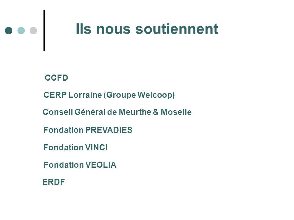 Ils nous soutiennent CCFD Fondation PREVADIES CERP Lorraine (Groupe Welcoop) Conseil Général de Meurthe & Moselle Fondation VINCI Fondation VEOLIA ERD