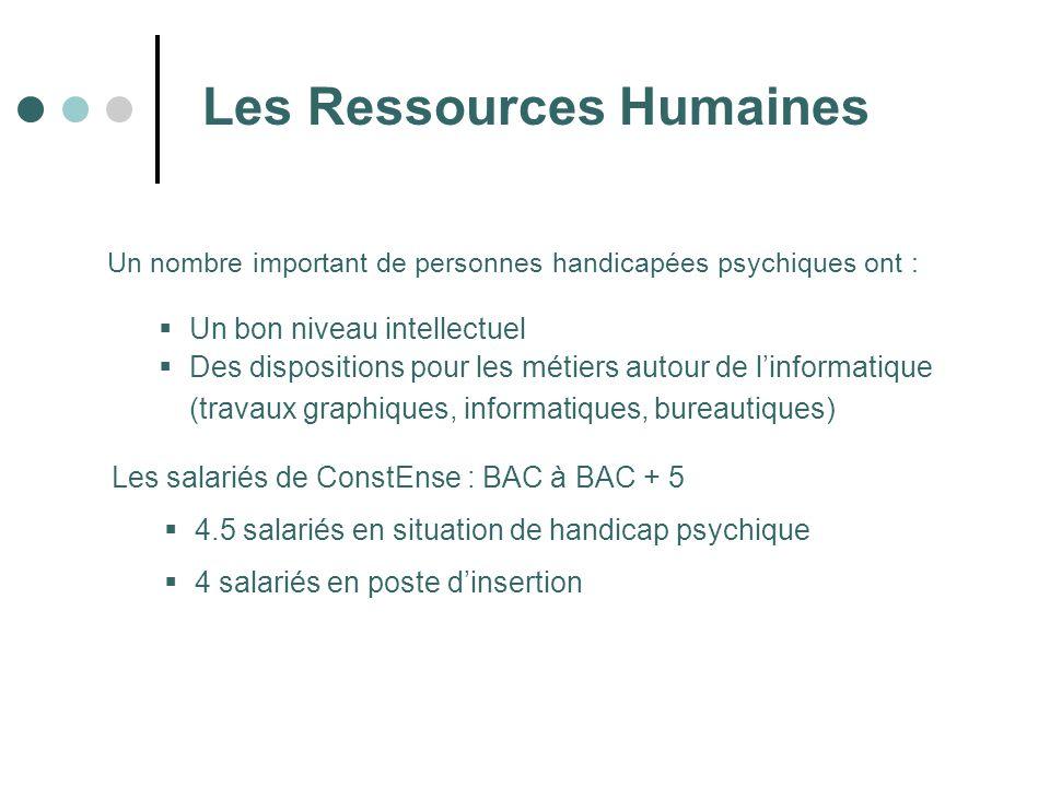 Les Ressources Humaines Un nombre important de personnes handicapées psychiques ont : Les salariés de ConstEnse : BAC à BAC + 5 4.5 salariés en situat