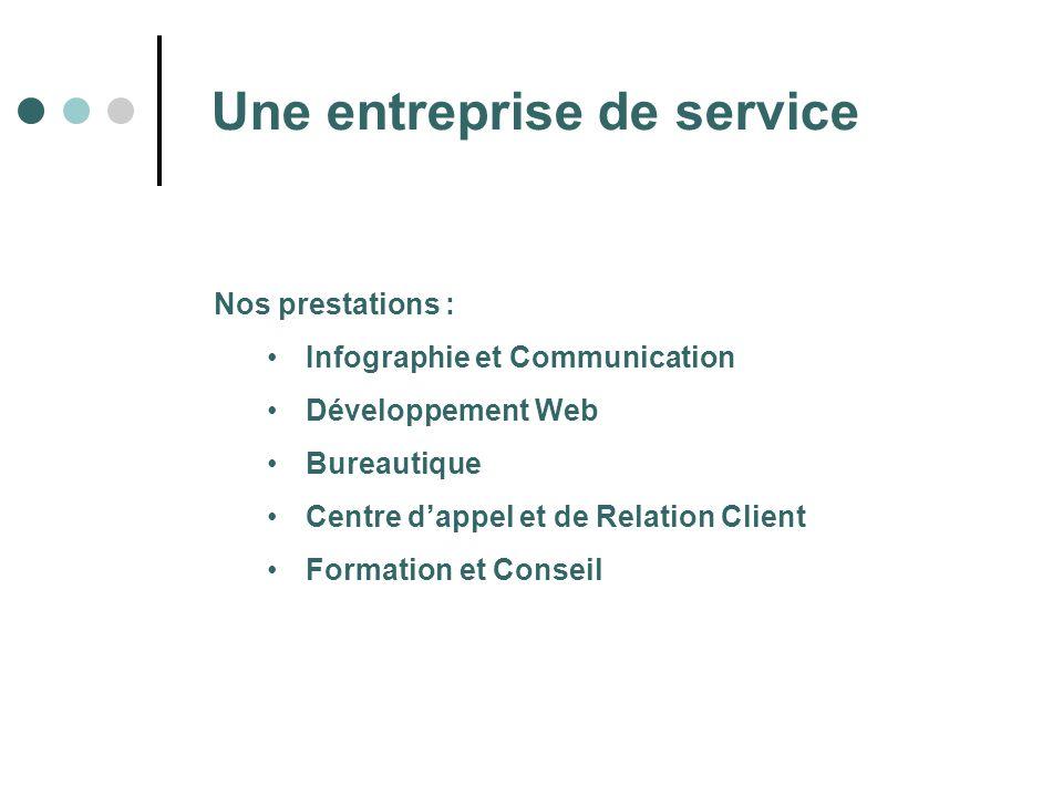 Une entreprise de service Nos prestations : Infographie et Communication Développement Web Bureautique Centre dappel et de Relation Client Formation e