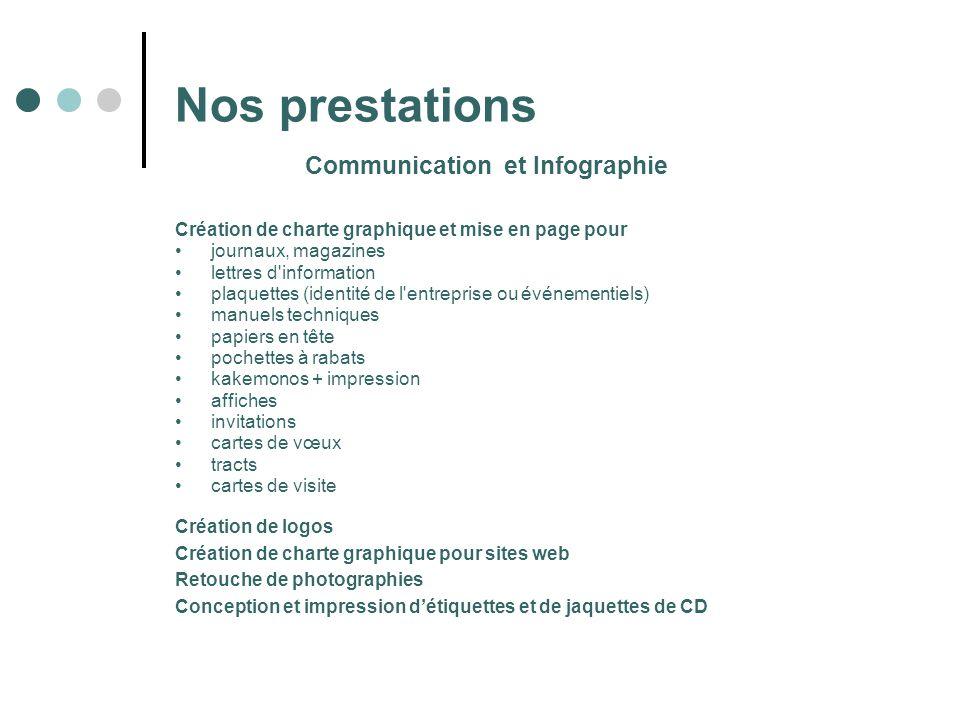 Communication et Infographie Nos prestations Création de charte graphique et mise en page pour journaux, magazines lettres d'information plaquettes (i