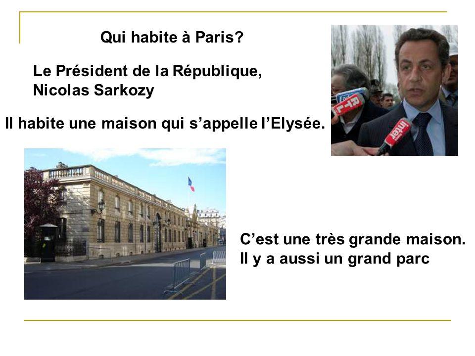 Qui habite à Paris? Le Président de la République, Nicolas Sarkozy Il habite une maison qui sappelle lElysée. Cest une très grande maison. Il y a auss