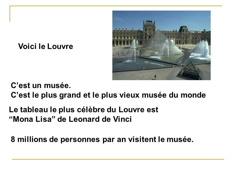 Voici le Louvre Cest un musée. Cest le plus grand et le plus vieux musée du monde Le tableau le plus célèbre du Louvre est Mona Lisa de Leonard de Vin
