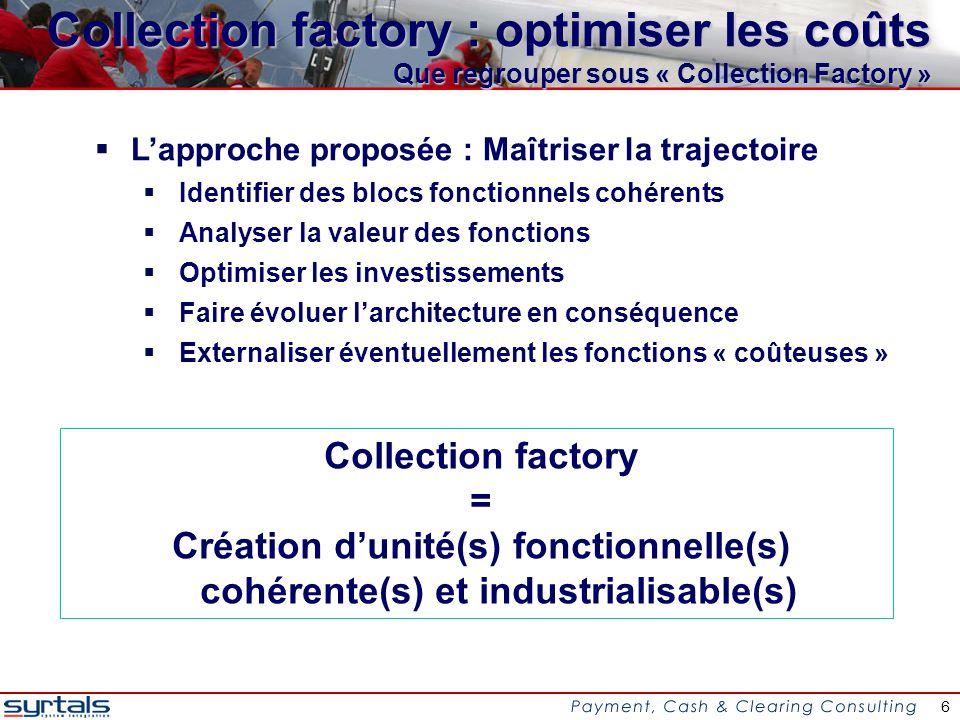 7 Collection factory : optimiser les coûts Identification des zones de rationalisation Les impacts macro amenés par SEPA