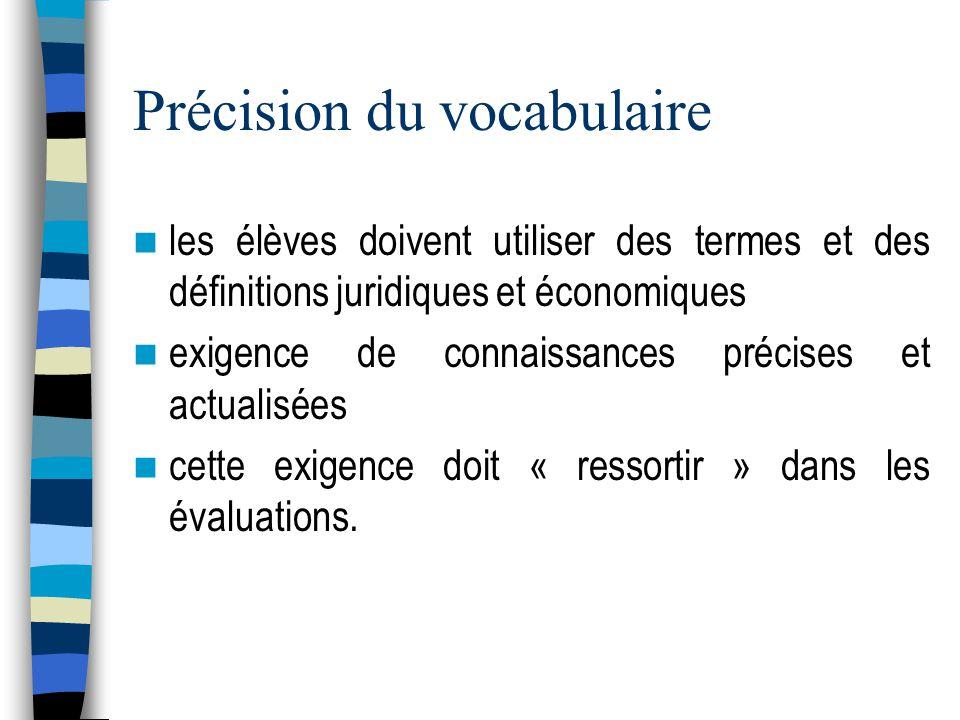 Précision du vocabulaire les élèves doivent utiliser des termes et des définitions juridiques et économiques exigence de connaissances précises et actualisées cette exigence doit « ressortir » dans les évaluations.