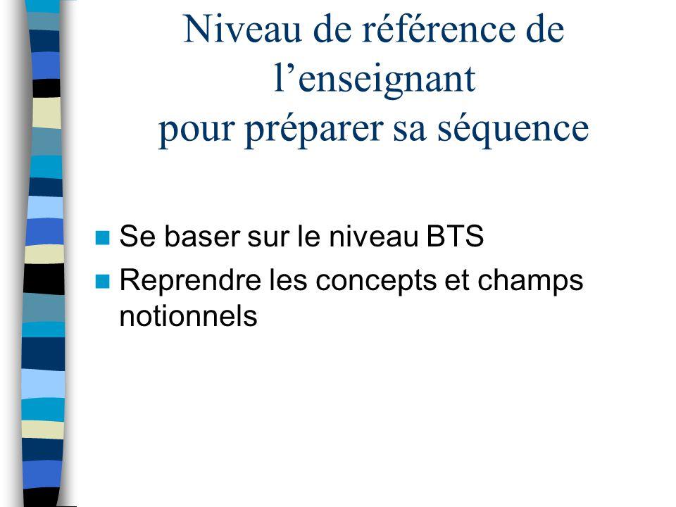 Niveau de référence de lenseignant pour préparer sa séquence Se baser sur le niveau BTS Reprendre les concepts et champs notionnels