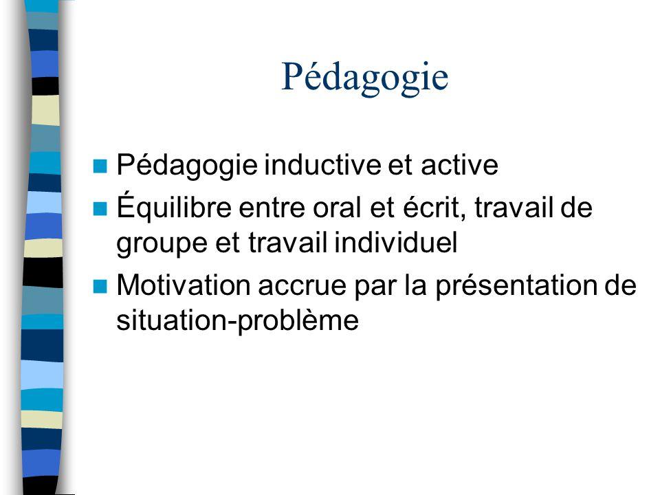 Pédagogie Pédagogie inductive et active Équilibre entre oral et écrit, travail de groupe et travail individuel Motivation accrue par la présentation de situation-problème