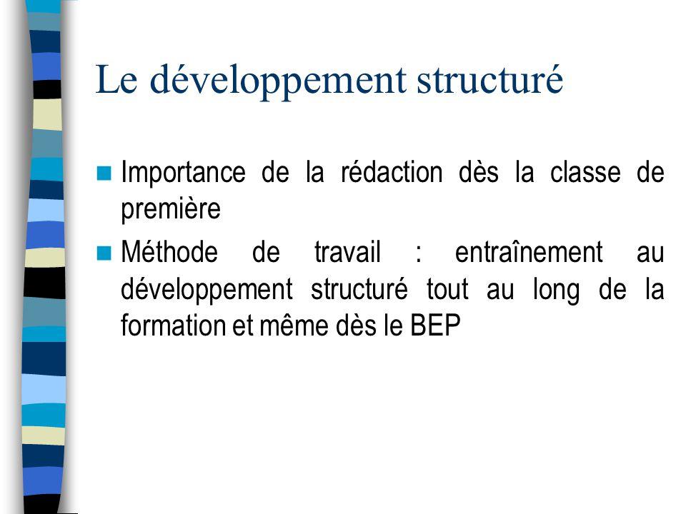 Le développement structuré Importance de la rédaction dès la classe de première Méthode de travail : entraînement au développement structuré tout au long de la formation et même dès le BEP