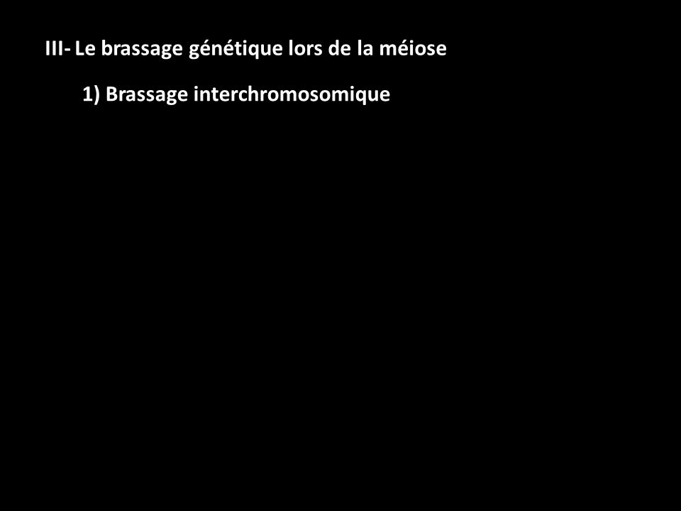 III- Le brassage génétique lors de la méiose 1) Brassage interchromosomique