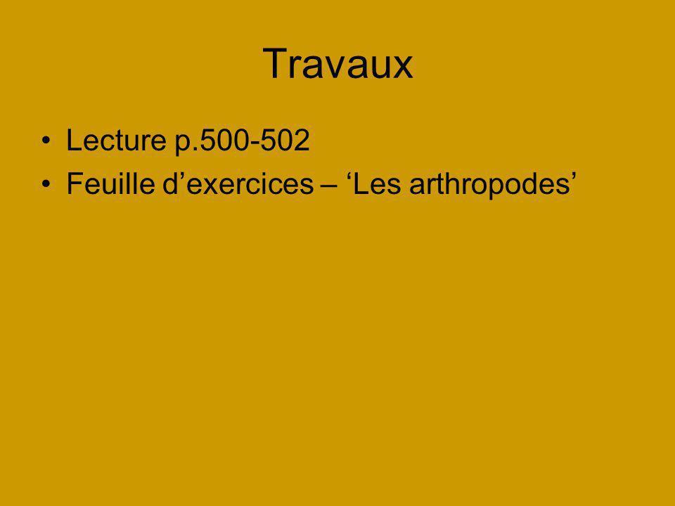 Travaux Lecture p.500-502 Feuille dexercices – Les arthropodes