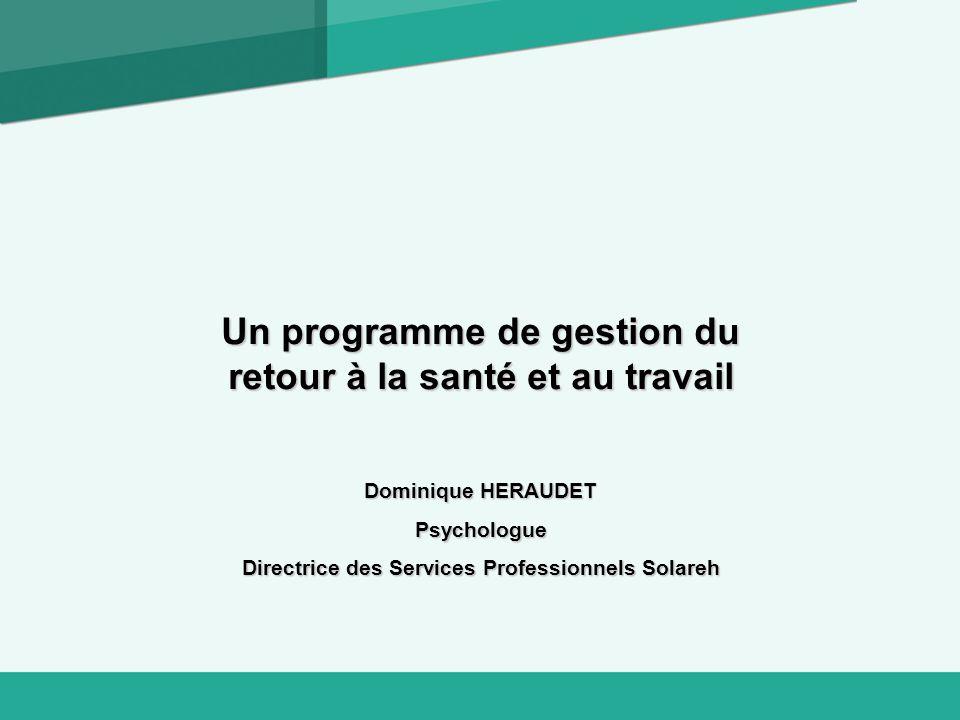 Un programme de gestion du retour à la santé et au travail Dominique HERAUDET Psychologue Directrice des Services Professionnels Solareh
