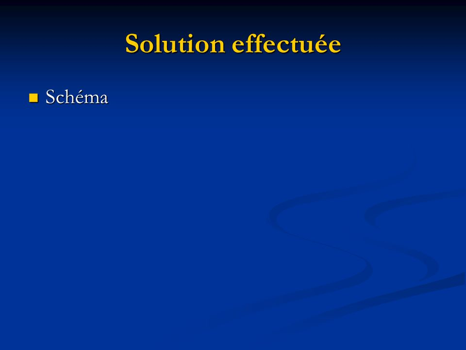 Solution effectuée Schéma Schéma