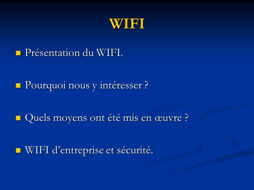 WIFI Présentation du WIFI. Présentation du WIFI. Pourquoi nous y intéresser ? Pourquoi nous y intéresser ? Quels moyens ont été mis en œuvre ? Quels m