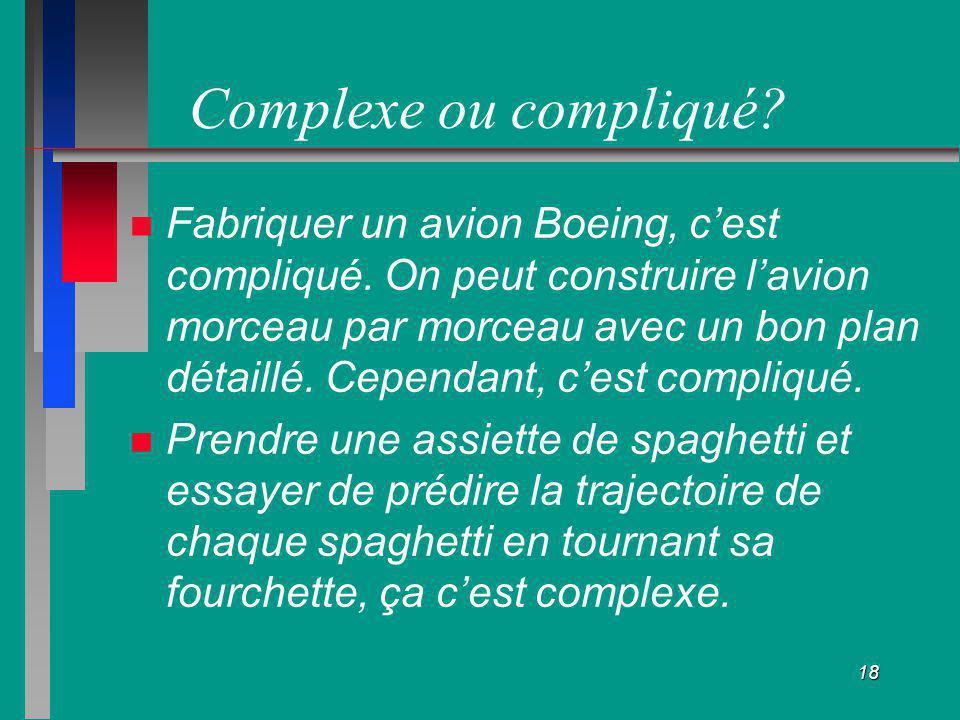 18 Complexe ou compliqué? Fabriquer un avion Boeing, cest compliqué. On peut construire lavion morceau par morceau avec un bon plan détaillé. Cependan