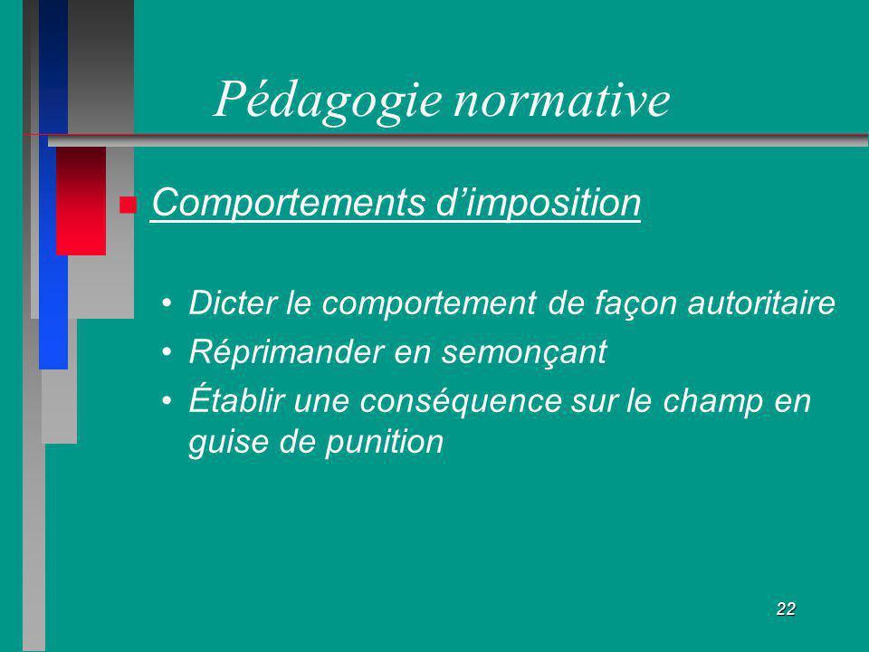 22 Pédagogie normative Comportements dimposition Dicter le comportement de façon autoritaire Réprimander en semonçant Établir une conséquence sur le c