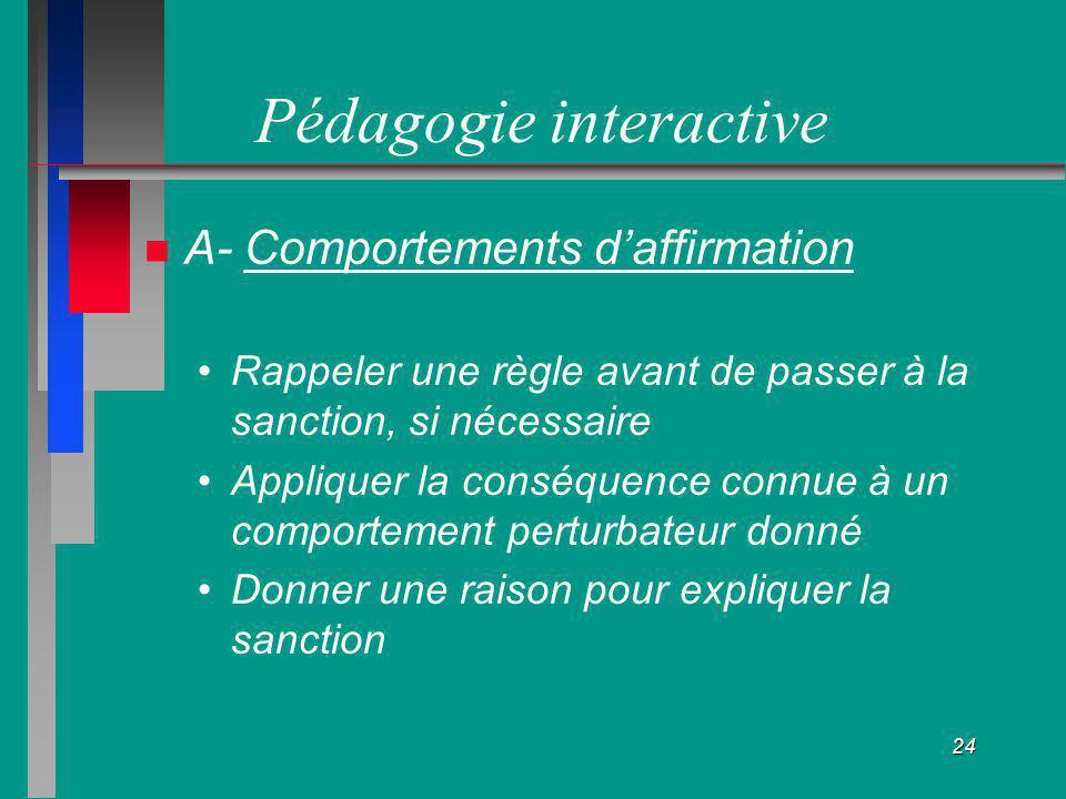 24 Pédagogie interactive A- Comportements daffirmation Rappeler une règle avant de passer à la sanction, si nécessaire Appliquer la conséquence connue