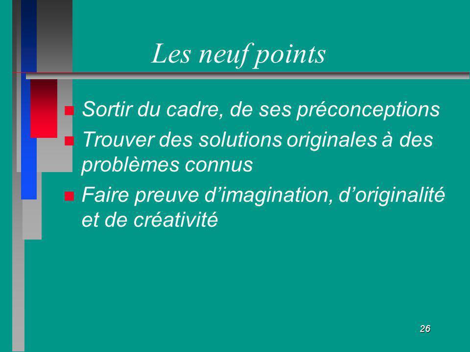26 Les neuf points Sortir du cadre, de ses préconceptions Trouver des solutions originales à des problèmes connus Faire preuve dimagination, doriginal