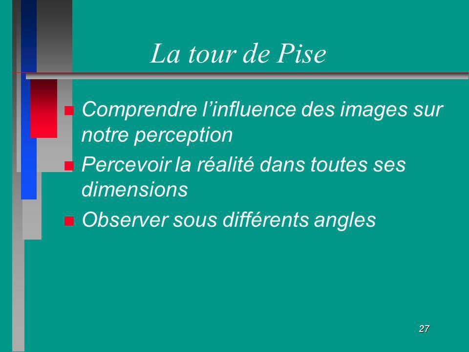 27 La tour de Pise Comprendre linfluence des images sur notre perception Percevoir la réalité dans toutes ses dimensions Observer sous différents angl